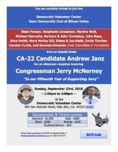 Jerry McNerney fundraiser at DVC @ Democratic Volunteer Center | Palo Alto | California | United States